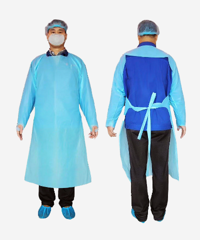 Isolation disposable gown, Thump Loop, Open Back,  20 GSM
